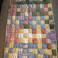 """Small Handmade Lap Quilt 42"""" by 31"""" Farmhouse Estate Find Midcentury Sixties"""