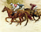 FRAMED CANVAS PRINT ART PAINTING  RACE DERBY HORSE RACING JOCKEY EQUESTRIAN