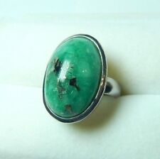 Colombian Emerald Ring Oval Shape 20.13 Cts Silver 950 F. Size 7.5 Muzo Mine