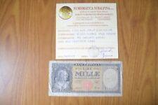 BANCONOTA LIRE 1000 ITALIA MEDUSA 1948 SERIE W SOSTITUTIVA RARA MB SUBALPINA