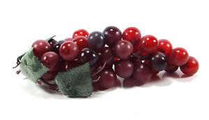Artificial Grape Cluster 7-inch Plastic Decorative Grapes Fake Green Red