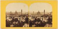 Italia Florence Panorama Monumenti Foto Stereo c1865 Albumina Vintage