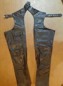 WOMEN'S BLACK LEATHER MOTORCYCLE CHAPS, SIZE S, UNLINED, with THIN RIDING GLOVES