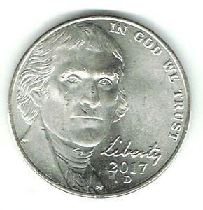 2017-D Denver Uncirculated Business Strike Jefferson Nickel Five Cent Coin!