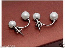 Pearl Sterling Silver Hook Earrings Aaa Real Natural White Akoya Freshwater