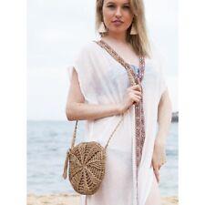 Womens Round Bohemia Small Woven Bag Handbag Crossbody bag Tan