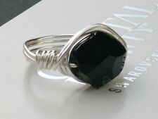12mm Jet Black Cosmic Crystal Wrap Ring made with Swarovski Crystal Elements