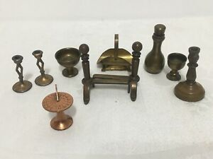 Lot of 10 Metal Doll House Miniatures-Brass & Copper T17