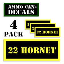 "22 HORNET Ammo Can 4x Label Ammunition 3""x1.15"" Caliber sticker decals 4 pack YW"