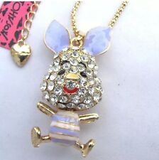 Betsey Johnson Necklace PIGLET Gold Purple Chrystal Piglet So Cute