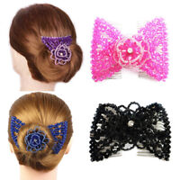 1PC Women Girl Magic Double Hair Comb Clip Beads Hairpin Stretchy Hairband Gift