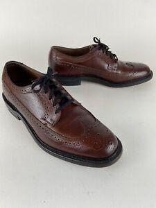 """Vintage Hanover """"a Man's Shoe"""" 9 D Burgundy Long Wing Tip Men's Dress Shoes"""