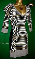 New KAREN MILLEN UK 14 (KM Size 4) Brown White Stripe Ruffle Knit BodyCon Dress