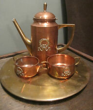 antique high quality Knut Eriksson copper brass teapot set sugar creamer kettle