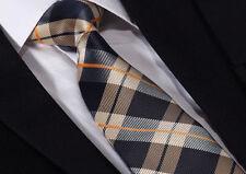 Mens Tie SALE -Original Scottish Tartan- Champagne Gold Royal Navy Blue Orange