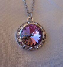 Swarovski Elements Crystal in Vitrail Lt with Clear Rhinestones Pendant Necklace