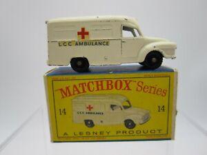 Vtg Matchbox Lesney #14 Lomas Ambulance Black Plastic Wheels with Original Box