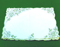 Antique Linen Hand Embroidered Floral Rose Doily Placemat 12.5 x 19