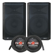 "Peavey DM115 Dark Matter 15"" 2-Way Bi-Amped PA Speaker Pair w/ 20 ft XLR Cables"