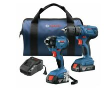 """Bosch GXL18V26B22 18V 2-Tool Combo Kit with 1/2"""" Compact Drill/Driver and 1/4"""" H"""