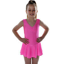 Girls' Sleeveless Ballet Dance Leotard with skirt Shiny Nylon Lycra Children's