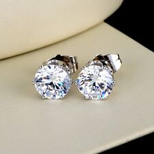 18k White Gold Filled Women ear stud Earrings 8mm CZ GF Fashion Jewelry