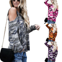 New Women Off Shoulder Camouflage Long Sleeve Blouse Casual Loose Tops T-Shirt