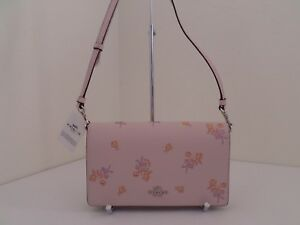 NWT AUTHENTIC COACH 31587 FLORAL BOW PRINT FOLD OVER LEATHER MESSENGER BAG-$195