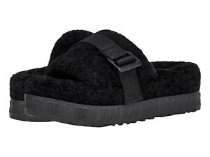Women's Shoes UGG FLUFFITA Sheepskin Slipper Slide Sandals 1113475 BLACK