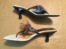 Delmas Sz 8.5 Brown Leather & Straw Sandals Shell Fringe Thongs Flip Flop Heels
