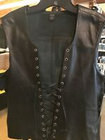 NWT Leather Front Lace Up Tank Gladiator Renaissance XXL Black