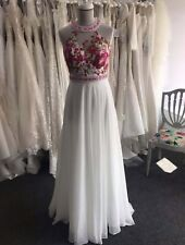 Prom Gown Uk 8 White Dress With Pink Embroidery. New
