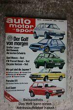 AMS Auto Motor Sport 22/78 * Opel Monza Senator VW Passat Chevy Malibu