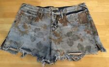 Free People Women's Size 26 Very Distressed Floral Jean Shorts