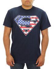 Superman American Flag Patriotic T-Shirt DC Comics Hero - Men's S - New w/Tags!