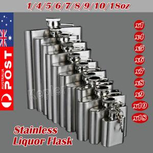 1-18oz Stainless Steel Hip Liquor Whiskey Alcohol Flask Cap Pocket Wine Bottle