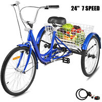 24'' Adult Tricycle 7-Speed 3 Wheel Large Basket Comfortable Cruise Durable