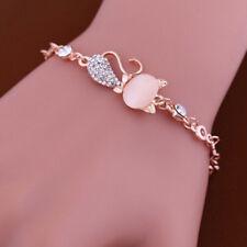Ladies Trendy Crystal Rhinestones Bangle Cat Bracelet Chain Opals Jewelry LG