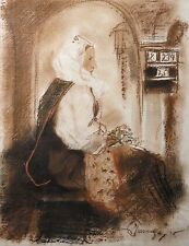 Antique Impressionist Drawing Woman Mixed Media Gouache Pencil Wash Charcoal