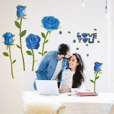 Blue Rose Flowers Love Home Room Decor Removable Wall Stickers Decal Decorations