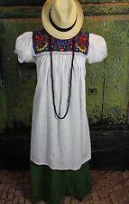 New Style White & Multi-Color Dress, Mayan Chiapas Mexico, Hippie Boho Cowgirl