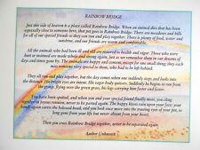 Rainbow Bridge Poem Large Frameable Print Card Pet Loss Dog Cat Gift Sympathy
