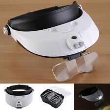 Headband 2 LED Lamp Light Head Magnifier Magnifying Glass Jeweler Loupe & 5 Lens