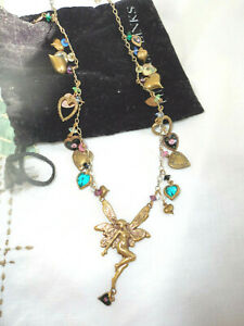 Rare Vintage  Piddly Links Studio Art  Necklace Fairy Heart charms w black Pouch