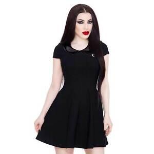 KILLSTAR Darklands Doll Dress Gothic Mini Kleid Schwarz Lack-Kragen Soft Stretch