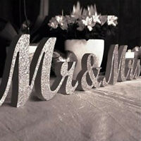 Silver Mr and Mrs Letters Sign Wooden Standing Top Table Wedding Decorations NEW