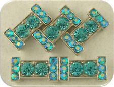 2 Hole Beads Crystal Bars Aqua & Aurora Borealis Swarovski Elements Sliders 5 pc
