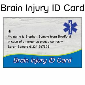 Brain Injury ID Card | Customised with your name and emergency contact, Free P&P