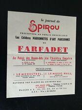 TRES RARE ancienne publicité Journal Spirou marionnettes Farfadet ETAT NEUF