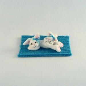 OOAK~Bunny~Rabbit~Mini~Art~Clay~Artist Doll~Pink Baby Toy~Dollhouse~Cheryl Brown